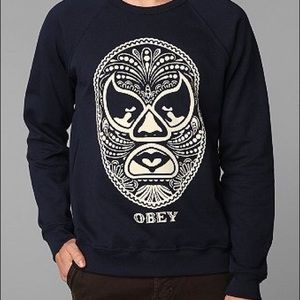 OBEY navy blue sweatshirt with Lucha Libre print